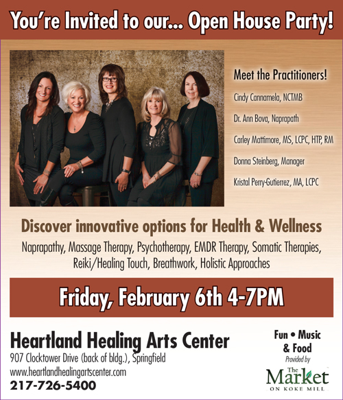 Heartland Healing Arts Center, Open House, February 6th, 2015, 4-7pm. Please call us at (217) 726-5400 to find out how complementary healing can enrich your life and discover new perspectives on health and healing.